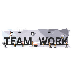 businesspeople team working together men women vector image
