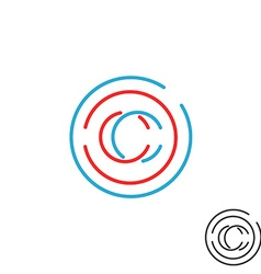 C letter monogram logo circle intersection line vector image