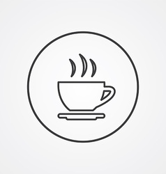 cap of tea outline symbol dark on white background vector image