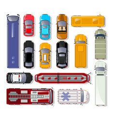 cars and trucks top view isolated set vector image