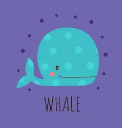 cartoon card with cute whale vector image