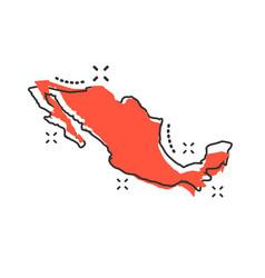 Cartoon mexico map icon in comic style mexico vector