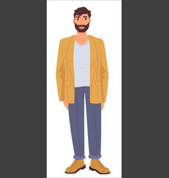 Casual outfit bearded man male fashion clothes vector