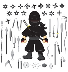 character ninja and weapon cartoon vector image