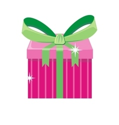 Christmas Pink Gift Box with Green Bow vector image