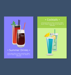 Cocktails summer drinks poster with bloody mary vector
