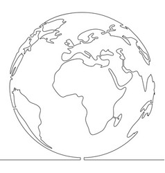 continuous one single line style world concept vector image