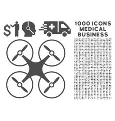 Copter Icon with 1000 Medical Business Pictograms vector image