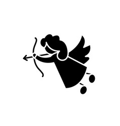 cupid black icon sign on isolated vector image