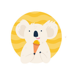 cute koala character eating ice cream vector image