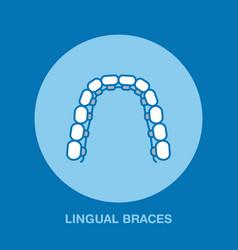 Dentist orthodontics line icon of lingual braces vector