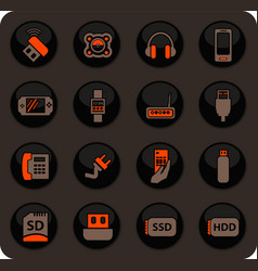 devices icons set vector image