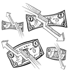 doodle money inflation vector image vector image