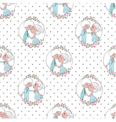 doodle valentines day couple on dot seamless vector image