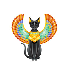 Egyptian cat bastet goddess black cat with vector