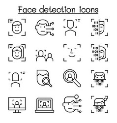 face detection recognition icon set in thin vector image