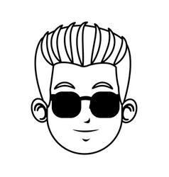 Face young man character with sunglasses line vector