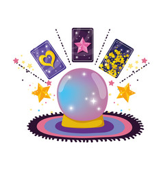 Fairytale crystal ball with fortune cards vector