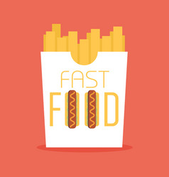fast food word sign logo icon design template vector image