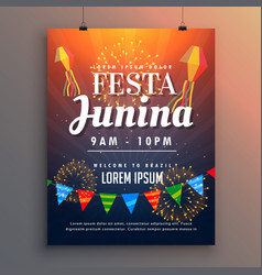 festa junina party invitation flyer design with vector image