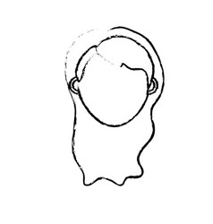 figure woman head with closed eyes and hairstyle vector image