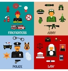 Fireman soldier judge and policeman icons vector image