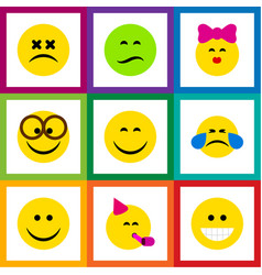 Flat icon face set of caress frown party time vector