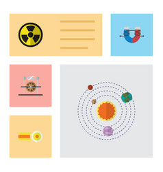 Flat icon study set of chemical attractive force vector