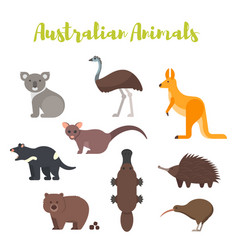 Flat style set of australian animals vector