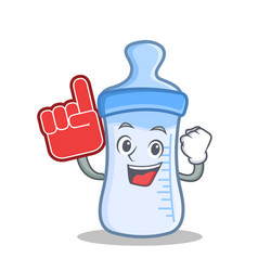 foam finger baby bottle character cartoon vector image