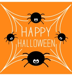 Four cartoon spider on the web Halloween card vector image