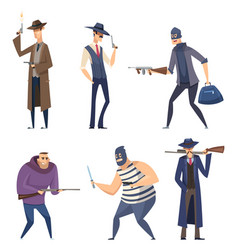 gangster cartoon retro soldiers bandit masked vector image