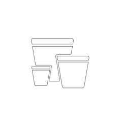 garden pots flat icon vector image