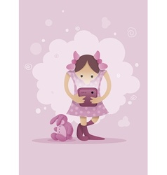 Girl playing with smartphone vector
