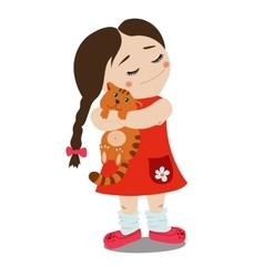 girl with kitten vector image