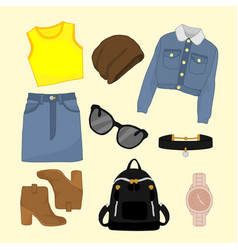 Girly fashion style items design set vector