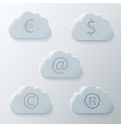 Glass Clouds Icons Set vector image