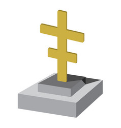 Grave with cross cartoon icon vector