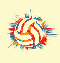 Grunge color volleyball symbol background vector