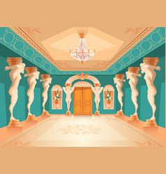 Hall with atlas columns ballroom interior vector
