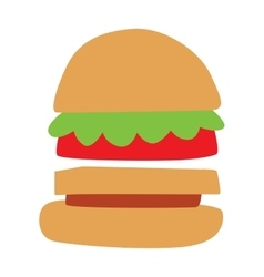 Hamburger with meat lettuce and cheese sandwich vector