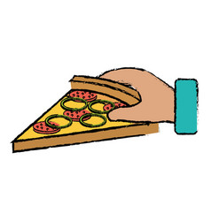 hand with delicious italian pizza vector image