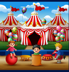 happy children playing on the circus arena vector image