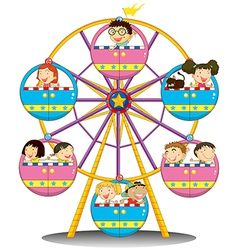 Happy children riding the ferris wheel vector image