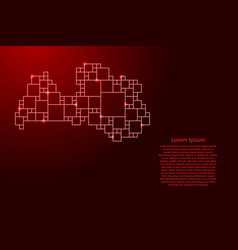 Latvia map from red pattern from a grid of vector