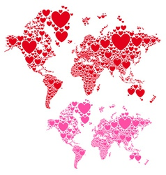 Love world map with red hearts vector image
