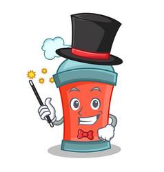 Magician aerosol spray can character cartoon vector