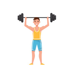 male exercising with a barbell professional vector image