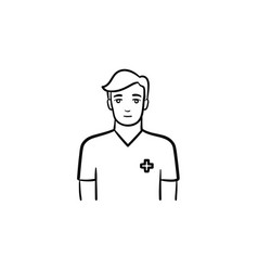 male nurse hand drawn outline doodle icon vector image