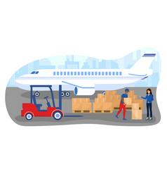 Male worker in uniform is loading boxes from vector